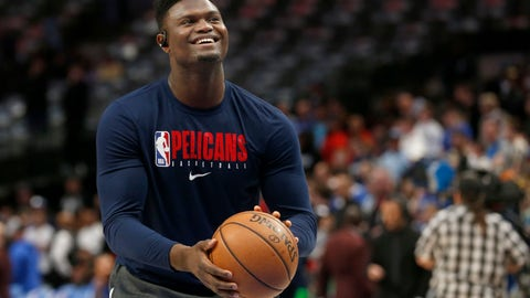 <p>               FILE - In this March 4, 2020, file photo, New Orleans Pelicans forward Zion Williamson shoots free throws prior to an NBA basketball game against the Dallas Mavericks in Dallas. The New Orleans Pelicans say top overall draft choice Zion Williamson has left the club to attend to an urgent family medical matter. The Pelicans say Williamson intends to rejoin the team in the Orlando area for the resumption of the season. But the club has not said whether the former Duke star would be able to return or whether he'll miss any games because of his departure on Thursday, July 16, 2020. (AP Photo/Michael Ainsworth, File)             </p>