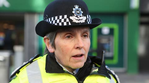 <p>               London's Metropolitan Police Commissioner Cressida Dick speaking to the media during a walkabout in Croydon, England, Monday March 16, 2020. The vast majority of people recover well from the new COVID-19 coronavirus, although for some it can cause more severe illness, according to the WorldHealth Organization. (Luciana Guerra/ PA via AP)             </p>
