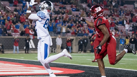 <p>               FILE - In this Nov. 24, 2018, file photo, Kentucky wide receiver Josh Ali (82) catches a touchdown pass during the team's NCAA college football game against Louisville in Louisville, Ky. The Southeastern Conference's conference-only scheduling decision during the coronavirus pandemic wiped out any hopes of saving four in-state rivalries against Atlantic Coast Conference opponents, all traditionally played on the final Saturday of the regular season. (AP Photo/Bryan Woolston, File)             </p>