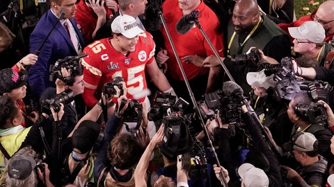 <p>               FILE - In this Feb. 2, 2020, file photo, Kansas City Chiefs quarterback Patrick Mahomes (15) is surrounded by media after his team won the NFL Super Bowl 54 football game against the San Francisco 49ers, in Miami Gardens, Fla. As sports prepare to resume, journalists are facing the same reckoning that their colleagues who cover politics, education and entertainment have encountered — coming up with new approaches to coverage with reduced access and resources. Professional leagues closed media access to locker rooms and clubhouses in early March. (AP Photo/Morry Gash, File)             </p>