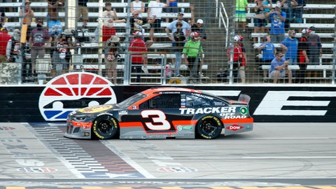 <p>               Austin Dillon crosses the finish line to win the NASCAR Cup Series auto race at Texas Motor Speedway in Fort Worth, Texas, Sunday, July 19, 2020. (AP Photo/Ray Carlin)             </p>