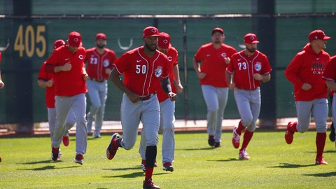 <p>               FILE - In this Feb. 17, 2020, file photo, Cincinnati Reds relief pitcher Amir Garrett leads other pitchers in sprints during spring training baseball workouts in Goodyear, Ariz. As one of only two Black players on the Cincinnati Reds, reliever Amir Garrett was afraid to use his platform to speak about racial injustice. That's changed, and he's brought teammates along in pressing for change. (AP Photo/Ross D. Franklin, File)             </p>