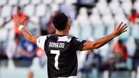 <p>               Juventus' Cristiano Ronaldo celebrates scoring his side's third goal, during the Serie A soccer match between Juventus and Torino, at the Allianz Stadium in Turin, Italy, Saturday, July 4, 2020. (Marco Alpozzi/LaPresse via AP)             </p>