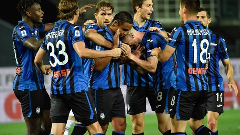<p>               Atalanta's Luis Muriel celebrates with teammates after scoring during the Serie A soccer match between Atalanta and Sampdoria at the Gewiss Stadium in Bergamo, Italy, Wednesday, July 8, 2020. (Gianluca Checchi/LaPresse via AP)             </p>