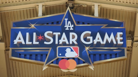 July 24, 2019; Los Angeles, CA, USA; Logo for 2020 MLB all star game on display at Dodger Stadium. Mandatory Credit: Gary A. Vasquez-USA TODAY Sports