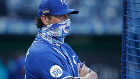 Kansas City Royals manager Mike Matheny watches an intrasquad baseball game at Kauffman Stadium on Wednesday, July 8, 2020, in Kansas City, Mo. (AP Photo/Charlie Riedel)