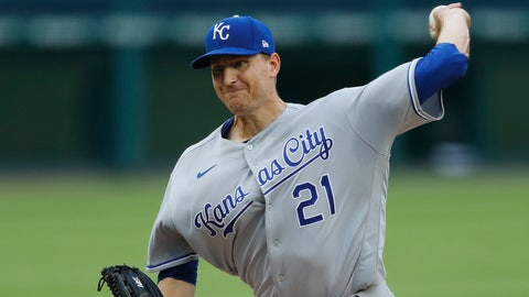 Kansas City Royals starting pitcher Mike Montgomery throws during a baseball game against the Detroit Tigers, Monday, July 27, 2020, in Detroit. (AP Photo/Carlos Osorio)
