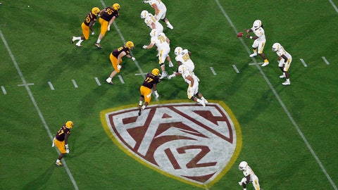 <p>               FILE - This Thursday, Aug. 29, 2019, file photo, shows the Pac-12 logo during the second half of an NCAA college football game between Arizona State and Kent State, in Tempe, Ariz. The Pac-12 has set Sept. 26 as the start of its 10-game conference-only football schedule. The Pac-12 announced three weeks ago it would eliminate nonconference games for its 12 member schools. (AP Photo/Ralph Freso, File)             </p>