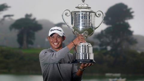 <p>               Collin Morikawa holds the Wanamaker Trophy after winning the PGA Championship golf tournament at TPC Harding Park Sunday, Aug. 9, 2020, in San Francisco. (AP Photo/Jeff Chiu)             </p>