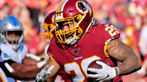 <p>               FILE - In this Nov. 24, 2019, file photo, Washington Redskins running back Derrius Guice (29) runs the ball during an NFL football game against the Detroit Lions in Landover, Md. The Washington Football Team has released Guice after he was charged in a domestic violence incident. (AP Photo/Mark Tenally, File)             </p>