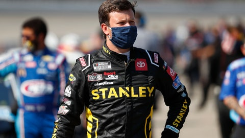 <p>               Erik Jones waits to enter his car before a NASCAR Cup Series auto race at Michigan International Speedway in Brooklyn, Mich., Saturday, Aug. 8, 2020. (AP Photo/Paul Sancya)             </p>