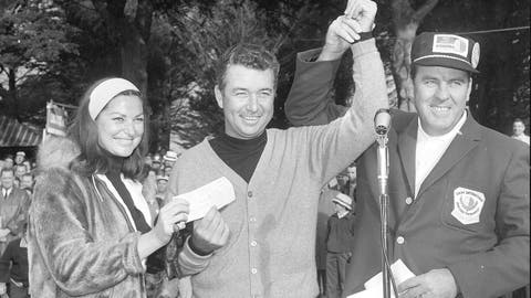 <p>               FILE - In this  Jan. 31, 1966, file photo, John Keane, right, general chairman of the Lucky International Golf Tournament, raises the hand of Ken Venturi after presenting him with the winners check of $8,500 at Harding Park in San Francisco, Calif. Helping Ken hold the check is his wife, Connie. The PGA Tour made an annual stop at Harding Park in the 1960s, and it produced a pretty stout roll call of champions. The most popular winner was Venturi, who grew up in San Francisco playing the municipal course. (AP Photo/File)             </p>