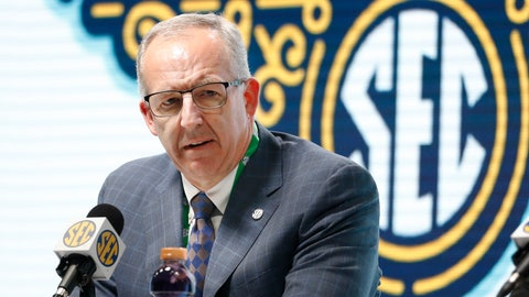 <p>               FILE - In this March 11, 2020, file photo, Southeastern Conference Commissioner Greg Sankey announces that fans will not be allowed in the arena to watch NCAA college basketball games in the SEC tournament in Nashville, Tenn. After the Power Five conference commissioners met Sunday, Aug. 9, 2020, to discuss mounting concern about whether a college football season can be played in a pandemic, players took to social media to urge leaders to let them play. (AP Photo/Mark Humphrey, File)             </p>
