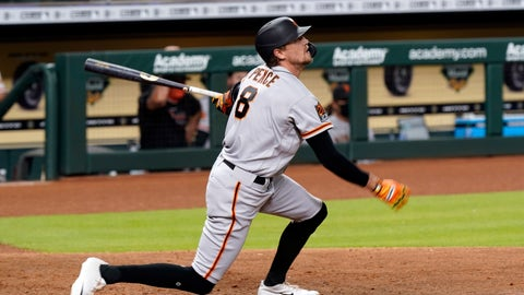 <p>               San Francisco Giants' Hunter Pence hits a three-run home run against the Houston Astros during the seventh inning of a baseball game Tuesday, Aug. 11, 2020, in Houston. (AP Photo/David J. Phillip)             </p>