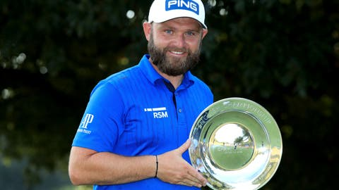 <p>               England's Andy Sullivan celebrates winning the English Championship on day four of the English Championship at Hanbury Manor Marriott Hotel and Country Club, Ware, England,. Sunday Aug. 9, 2020. (Adam Davy/PA via AP)             </p>