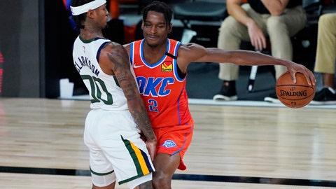 <p>               Oklahoma City Thunder's Shai Gilgeous-Alexander (2) drives into Utah Jazz's Jordan Clarkson (00) during the second half of an NBA basketball game Saturday, Aug. 1, 2020, in Lake Buena Vista, Fla. (AP Photo/Ashley Landis, Pool)             </p>