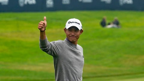 <p>               Collin Morikawa celebrates after winning the PGA Championship golf tournament at TPC Harding Park Sunday, Aug. 9, 2020, in San Francisco. (AP Photo/Jeff Chiu)             </p>