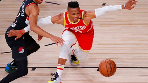 <p>               Anfernee Simons, left, of the Portland Trail Blazers knocks the ball away from Russell Westbrook, right, of the Houston Rockets during the first half of an NBA basketball game Tuesday, Aug. 4, 2020, in Lake Buena Vista, Fla. (Kevin C. Cox/Pool Photo via AP)             </p>