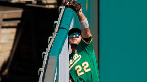 <p>               Oakland Athletics center fielder Ramon Laureano makes a catch at the wall on a ball hit by Los Angeles Angels' Brian Goodwin during the seventh inning of a baseball game Wednesday, Aug. 12, 2020, in Anaheim, Calif. (AP Photo/Mark J. Terrill)             </p>