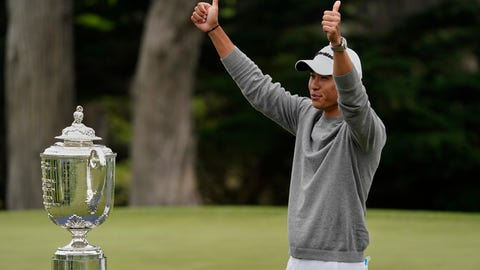 <p>               Collin Morikawa poses with the Wanamaker Trophy after winning the PGA Championship golf tournament at TPC Harding Park Sunday, Aug. 9, 2020, in San Francisco. (AP Photo/Charlie Riedel)             </p>