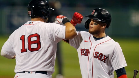 <p>               Boston Red Sox's Mitch Moreland (18) celebrates his two-run home run with Alex Verdugo during the third inning of a baseball game against the Toronto Blue Jays, Friday, Aug. 7, 2020, in Boston. (AP Photo/Michael Dwyer)             </p>