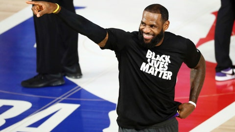 <p>               Los Angeles Lakers forward LeBron James (23) warms up before a NBA basketball game against the Indiana Pacers, Saturday, Aug. 8, 2020, in Lake Buena Vista, Fla. (Kim Klement/Pool Photo via AP)             </p>