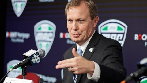 <p>               FILE - In this March 12, 2020, file photo, Mid-American Conference commissioner Jon Steinbrecher speaks to the media in Cleveland. The Mid-American Conference on Saturday, Aug. 8, 2020, became the first league competing at college football's highest level to cancel its fall season because of COVID-19 concerns. With the MAC's 12 schools facing a significant financial burden by trying to maintain costly coronavirus protocols, the conference's university presidents made the decision to explore a spring season. (AP Photo/Tony Dejak, File)             </p>