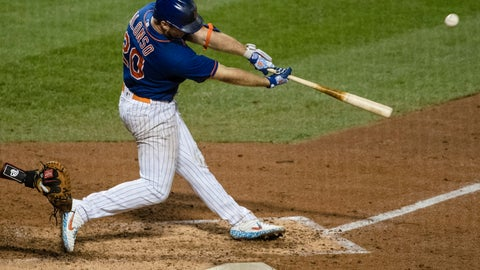 <p>               New York Mets' Pete Alonso (20) hits a two-run home run during the sixth inning of a baseball game against the Washington Nationals Wednesday, Aug. 12, 2020, in New York. (AP Photo/Frank Franklin II)             </p>