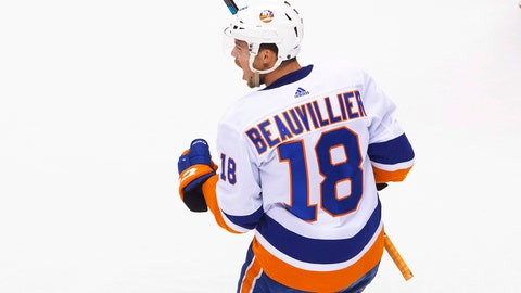 <p>               New York Islanders left wing Anthony Beauvillier (18) celebrates his goal against the Florida Panthers during the first period of an NHL hockey game in Toronto, Friday, Aug. 7, 2020. (Chris Young/The Canadian Press via AP)             </p>