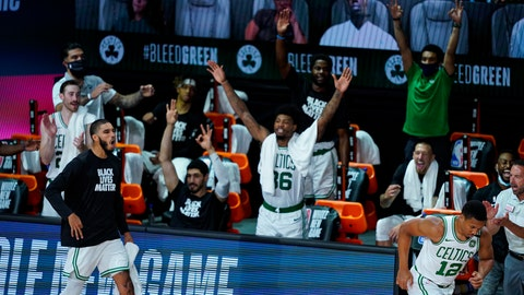 <p>               The Boston Celtics bench celebrates during the second half of an NBA basketball game against the Brooklyn Nets Wednesday, Aug. 5, 2020 in Lake Buena Vista, Fla. (AP Photo/Ashley Landis)             </p>