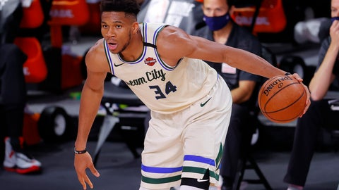 <p>               Milwaukee Bucks' Giannis Antetokounmpo looks to move the ball against the Houston Rockets during an NBA basketball game Sunday, Aug. 2, 2020, in Lake Buena Vista, Fla. (Mike Ehrmann/Pool Photo via AP)             </p>