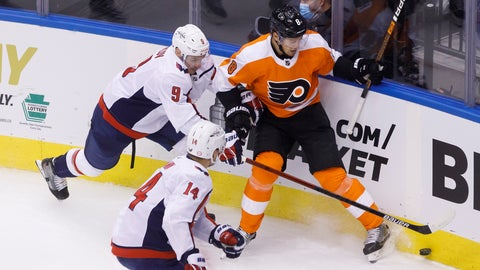 <p>               Washington Capitals defenseman Dmitry Orlov (9) and Philadelphia Flyers defenseman Robert Hagg (8) vie for the puck in the cornerduring the second period of an NHL hockey playoff game  Thursday, Aug. 6, 2020, in Toronto. (Cole Burston/The Canadian Press via AP)             </p>