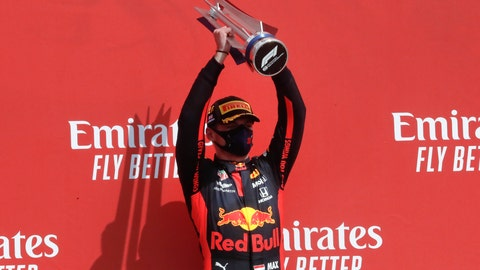 <p>               Red Bull driver Max Verstappen of the Netherlands holds up the trophy on the podium after taking first place in the 70th Anniversary Formula One Grand Prix at the Silverstone circuit, Silverstone, England, Sunday, Aug. 9, 2020. (AP Photo/Frank Augstein, Pool)             </p>
