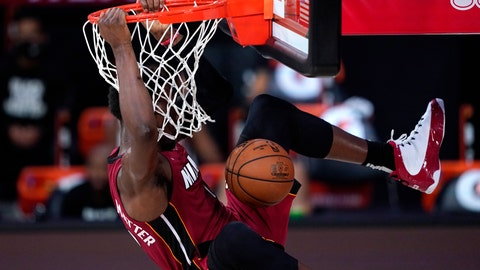 <p>               Miami Heat's Bam Adebayo dunks during the first half of an NBA basketball game against the Phoenix Suns, Saturday, Aug. 8, 2020 in Lake Buena Vista, Fla. (AP Photo/Ashley Landis, Pool)             </p>