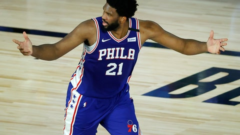 <p>               Philadelphia 76ers' Joel Embiid reacts after a basket during the third quarter of an NBA basketball game against the Orlando Magic, Friday, Aug. 7, 2020, in Lake Buena Vista, Fla. (Kevin C. Cox/Pool Photo via AP)             </p>