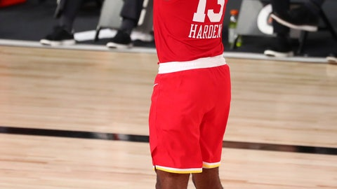 <p>               Houston Rockets guard James Harden (13) shoots a three-point basket against the Indiana Pacers in the second half of an NBA basketball game Wednesday, Aug. 12, 2020, in Lake Buena Vista, Fla. (Kim Klement/Pool Photo via AP)             </p>