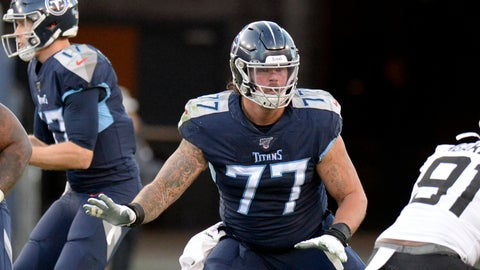 <p>               FILE - In this Nov. 24, 2019, file photo, Tennessee Titans offensive tackle Taylor Lewan (77) blocks against the Jacksonville Jaguars in the first half of an NFL football game in Nashville, Tenn. The Titans already are way ahead of where they were a year ago. That's when they knew Lewan would sit out the first four games. Now the Titans face no suspensions with an offensive line that wants to start this season the way they finished 2019, blowing open holes for NFL rushing leader Derrick Henry.(AP Photo/Mark Zaleski, File)             </p>