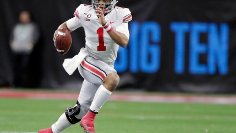 <p>               FILE - In this Dec. 7, 2019, file photo, Ohio State quarterback Justin Fields (1) runs with the ball against Wisconsin during the first half of the Big Ten championship NCAA college football game, in Indianapolis. The Big Ten won't play football this fall because of concerns about COVID-19, becoming the first of college sports' power conferences to yield to the pandemic. The move announced Tuesday, Aug. 11, 2020, comes six day after the conference that includes historic programs such as Ohio State, Michigan, Nebraska and Penn State had released a revised conference-only schedule that it hoped would help it navigate a fall season with potential COVID-19 disruptions. (AP Photo/Michael Conroy, File)             </p>