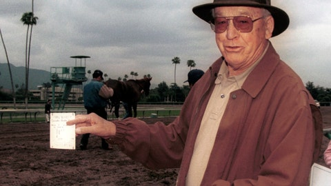 <p>               In an April 4, 2004 photo provided by Benoit Photo, Mel Stute is seen at Santa Anita Park in Arcadia, Calif. Mel Stute, trainer of 1986 Preakness winner and Eclipse Award champion 3-year-old male Snow Chief, died Wednesday, Aug. 12, 2020. He was 93.(Benoit Photo via AP)             </p>
