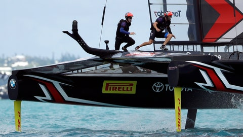 <p>               FILE - In this June 26, 2017 file photo Emirates Team New Zealand helmsman Peter Burling, left, and teammate Blair Tuke cross the boat during the ninth race in America's Cup sailing competition against Oracle Team USA, in Hamilton, Bermuda. The defending America's Cup champions and Olympic gold medalists have launched a New Zealand team in the SailGP global league. Two of the world's most accomplished sailors, will serve as co-CEOs of the Kiwi team, which will join the circuit during the rescheduled second season next year. (AP Photo/Gregory Bull, file)             </p>
