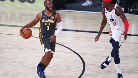 <p>               Oklahoma City Thunder guard Chris Paul (3) brings the ball upcourt against Washington Wizards forward Isaac Bonga (17) during the second half of an NBA basketball game Sunday, Aug. 9, 2020, in Lake Buena Vista, Fla. (Kim Klement/Pool Photo via AP)             </p>