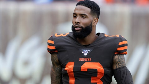 <p>               FILE - In this Sept. 8, 2019, file photo, Cleveland Browns wide receiver Odell Beckham Jr. (13) stands on the sideline during the first half in an NFL football game against the Tennessee Titans in Cleveland. Beckham has participated fully in training camp after expressing reservations about whether the NFL should have a season with the coronavirus still spreading. (AP Photo/Ron Schwane, File)             </p>