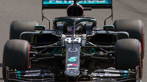 <p>               Mercedes driver Lewis Hamilton of Britain steers his car during a practice session at the 70th Anniversary Formula One Grand Prix at the Silverstone circuit, Silverstone, England, Saturday, Aug. 8, 2020. (Will Oliver/Pool Photo via AP)             </p>