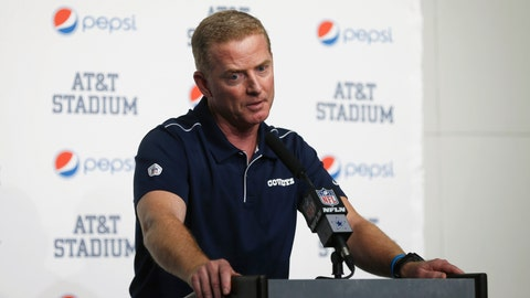 <p>               FILE - In this Dec. 15, 2019, file photo, then-Dallas Cowboys head coach Jason Garrett takes part in a news conference following an NFL football game against the Washington Redskins in Arlington, Texas. Jason Garrett wasn't interested in sitting around for a year after the Dallas Cowboys didn't renew his contract as their head coach. So when the New York Giants and new head coach Joe Judge called to ask him about becoming the offensive coordinator, he jumped at the opportunity. Speaking to the media Tuesday for the first time since he was hired, Garrett refused to discuss his final days in Dallas, where he was the head coach for a decade. (AP Photo/Ron Jenkins, File)             </p>