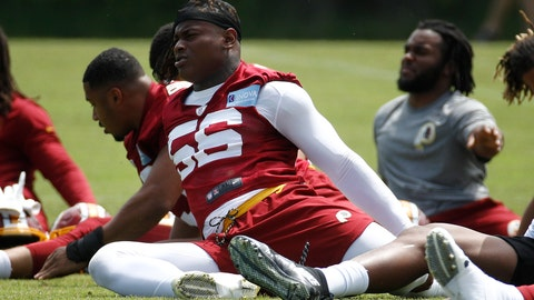 <p>               FILE - Washington Redskins linebacker Reuben Foster stretches during a practice at the team's NFL football practice facility, in a Reuben Foster Monday, May 20, 2019 file photo, in Ashburn, Va.The Washington Football Team activated linebacker Reuben Foster off the physically unable to perform list Sunday, Aug.9, 2020. The team made the move days ahead of the start of on-field training camp workouts.   (AP Photo/Patrick Semansky, File)             </p>