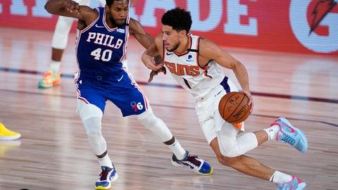 <p>               Phoenix Suns guard Devin Booker (1) drives past Philadelphia 76ers forward Glenn Robinson III (40) during the first half of an NBA basketball game Tuesday, Aug. 11, 2020, in Lake Buena Vista, Fla. (AP Photo/Ashley Landis, Pool)             </p>