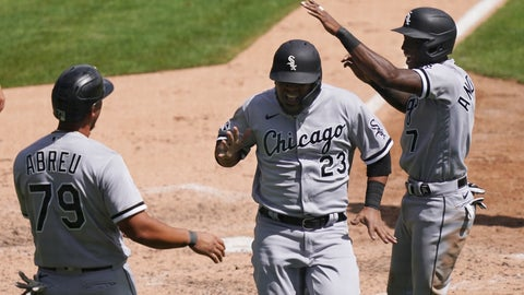 <p>               Chicago White Sox' Jose Abreu (79), Tim Anderson, right, and Edwin Encarnacion react after they all scored on teammate Luis Robert's double to right field during the fifth inning of a baseball game against the Detroit Tigers, Wednesday, Aug. 12, 2020, in Detroit. (AP Photo/Carlos Osorio)             </p>