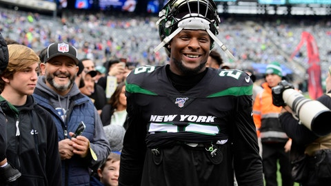 <p>               FILE - In this Nov. 10, 2019, file photo, New York Jets running back Le'Veon Bell (26) smiles before an NFL football game against the New York Giants, in East Rutherford, N.J. Bell has his sights set on a big-time bounce back. The New York Jets star running back put up pedestrian numbers last season after sitting out a year in a contract dispute with the Pittsburgh Steelers. Bell say he's now in the best shape of his career and can't wait to show it on the field. AP Photo/Steven Ryan)             </p>