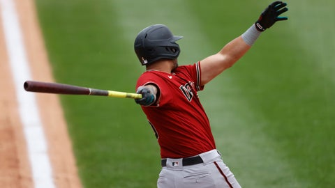 <p>               Arizona Diamondbacks' David Peralta follows the flight of his double to drive in three runs off Colorado Rockies relief pitcher Tyler Kinley in the seventh inning of a baseball game Wednesday, Aug. 12, 2020, in Denver. (AP Photo/David Zalubowski)             </p>