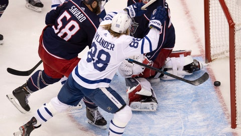 <p>               Toronto Maple Leafs right wing William Nylander (88) celebrates the game tying goal as Columbus Blue Jackets goaltender Elvis Merzlikins (90) and Blue Jackets defenceman David Savard (58) react during the third period of an NHL hockey playoff game Friday, Aug. 7, 2020, in Toronto. (Frank Gunn/The Canadian Press via AP)             </p>